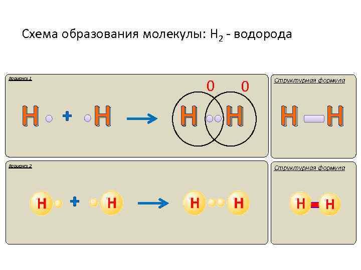 Схема образования молекулы: Н 2 - водорода Вариант 1 Н 0 + Вариант 2