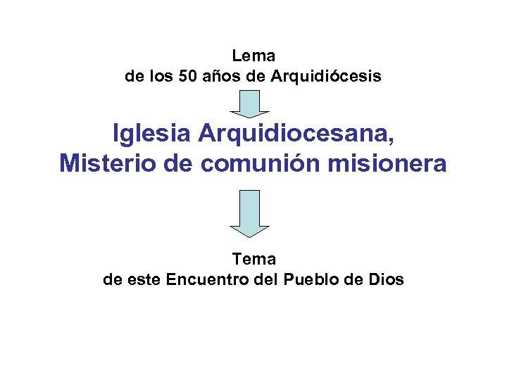 Lema de los 50 años de Arquidiócesis Iglesia Arquidiocesana, Misterio de comunión misionera Tema