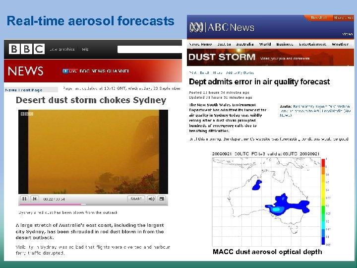 Real-time aerosol forecasts MACC dust aerosol optical depth