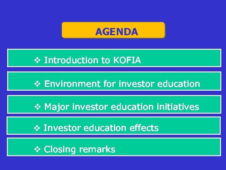 AGENDA v Introduction to KOFIA v Environment for investor education v Major investor education