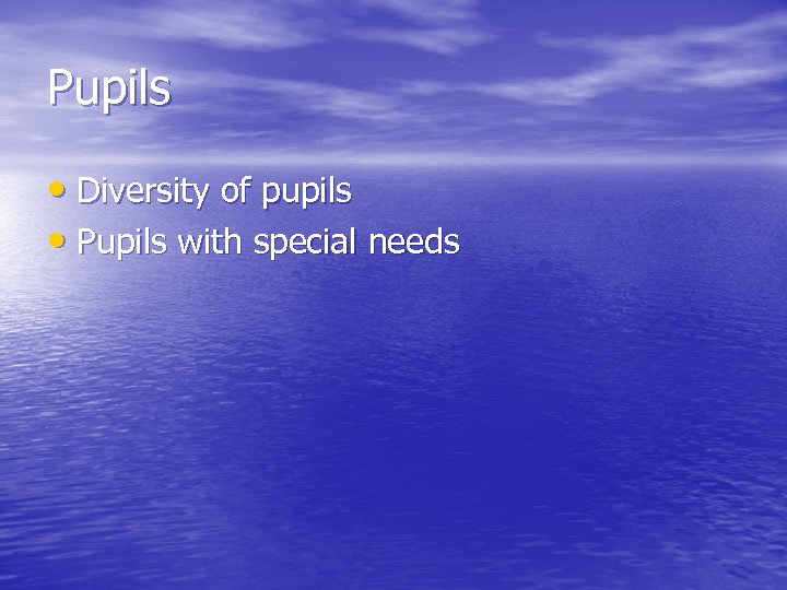 Pupils • Diversity of pupils • Pupils with special needs