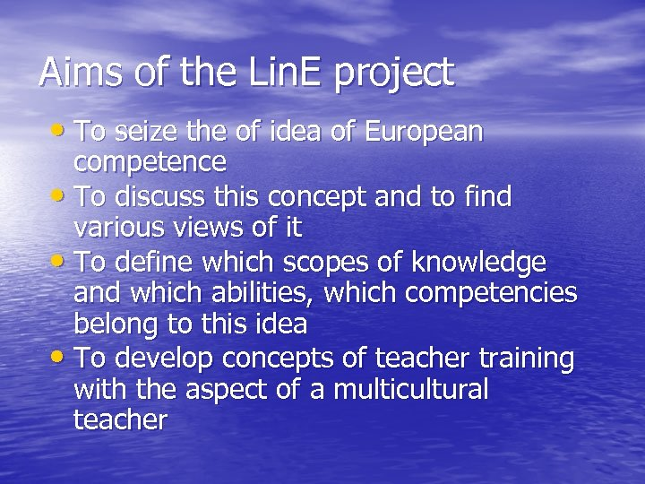 Aims of the Lin. E project • To seize the of idea of European