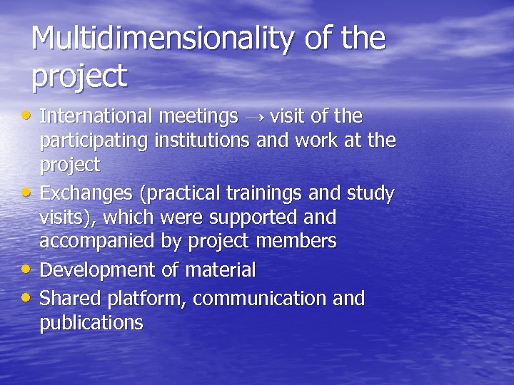 Multidimensionality of the project • International meetings → visit of the • • •