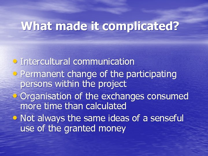 What made it complicated? • Intercultural communication • Permanent change of the participating persons