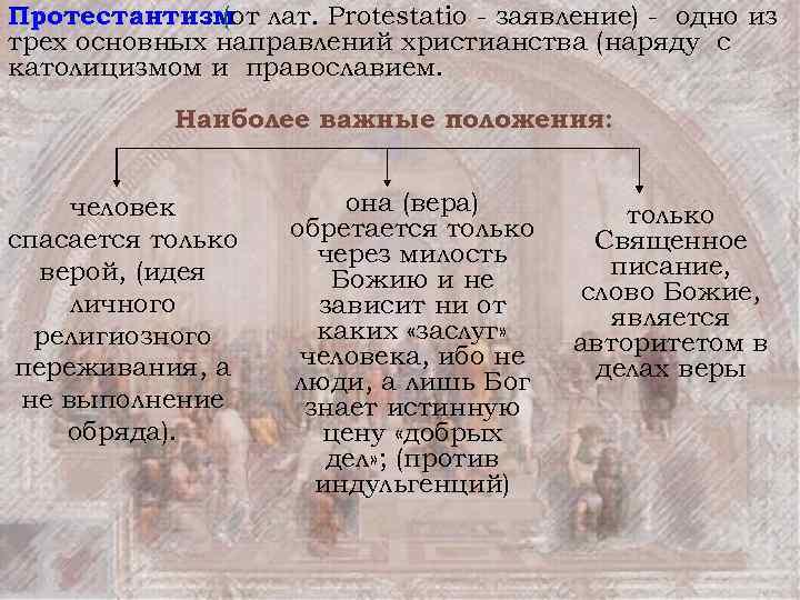 Протестантизм лат. Protestatio - заявление) - одно из (от трех основных направлений христианства (наряду