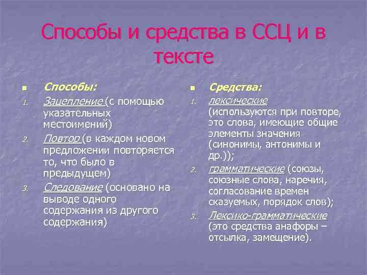 Способы и средства в ССЦ и в тексте n 1. 2. 3. Способы: Зацепление