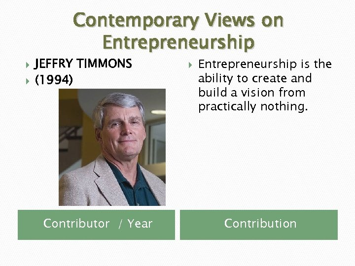 Contemporary Views on Entrepreneurship JEFFRY TIMMONS (1994) Contributor / Year Entrepreneurship is the ability