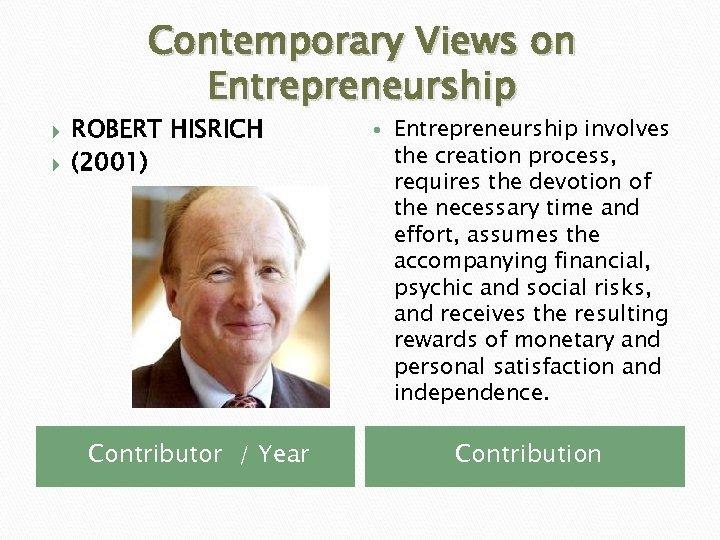 Contemporary Views on Entrepreneurship ROBERT HISRICH (2001) Contributor / Year Entrepreneurship involves the creation
