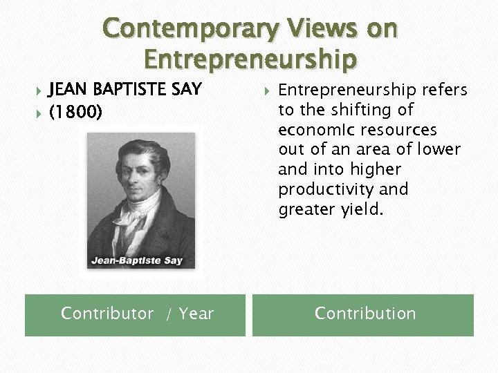 Contemporary Views on Entrepreneurship JEAN BAPTISTE SAY (1800) Contributor / Year Entrepreneurship refers to
