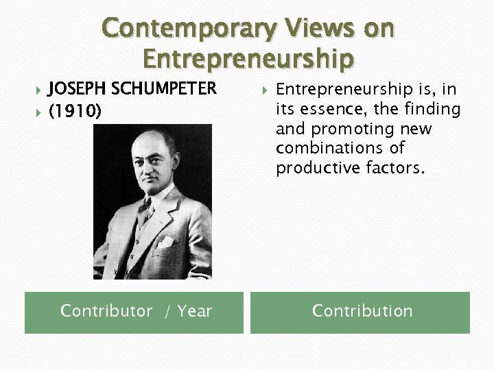 Contemporary Views on Entrepreneurship JOSEPH SCHUMPETER (1910) Contributor / Year Entrepreneurship is, in its