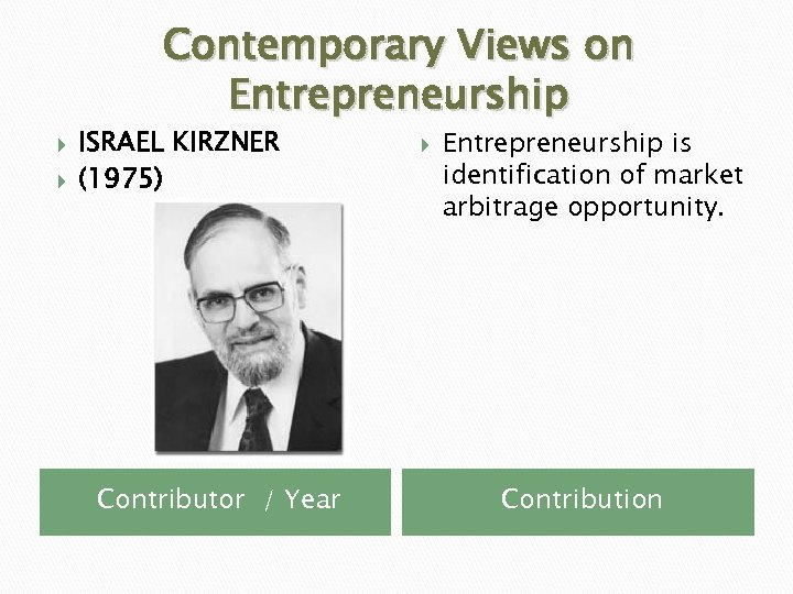 Contemporary Views on Entrepreneurship ISRAEL KIRZNER (1975) Contributor / Year Entrepreneurship is identification of