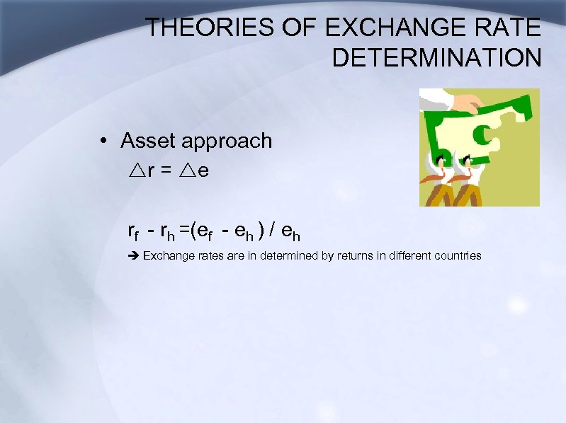 THEORIES OF EXCHANGE RATE DETERMINATION • Asset approach rr = re rf - rh