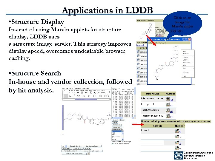 Applications in LDDB • Structure Display Instead of using Marvin applets for structure display,