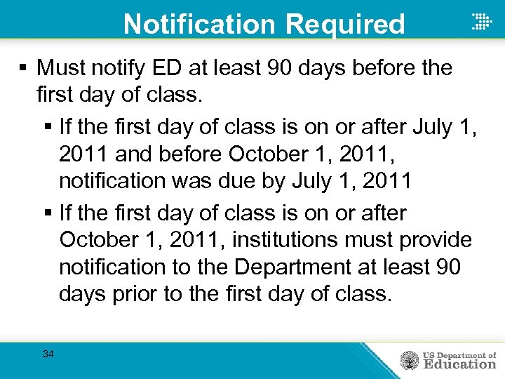 Notification Required § Must notify ED at least 90 days before the first day