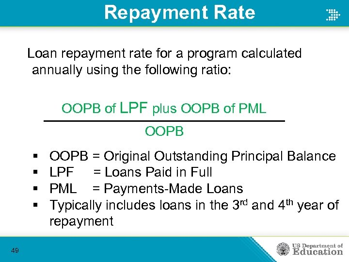 Repayment Rate Loan repayment rate for a program calculated annually using the following ratio: