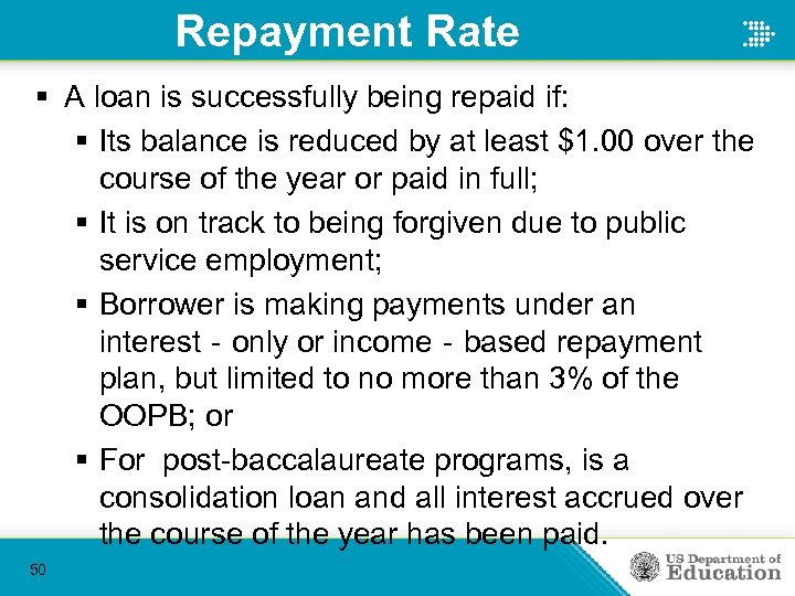 Repayment Rate § A loan is successfully being repaid if: § Its balance is