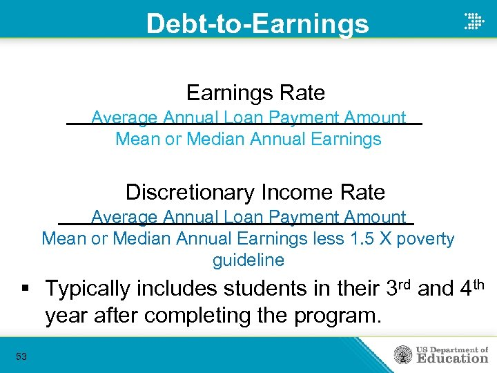 Debt-to-Earnings Rate Average Annual Loan Payment Amount Mean or Median Annual Earnings Discretionary Income