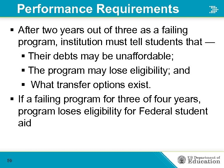 Performance Requirements § After two years out of three as a failing program, institution