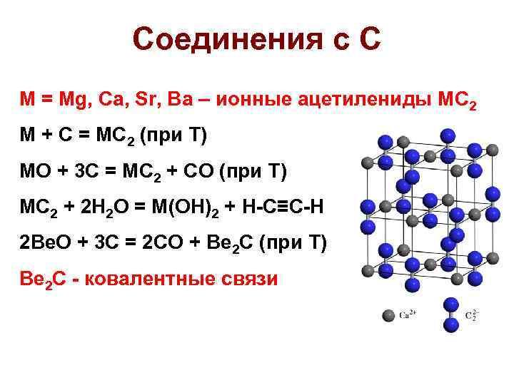 Соединения с C M = Mg, Ca, Sr, Ba – ионные ацетилениды MC 2