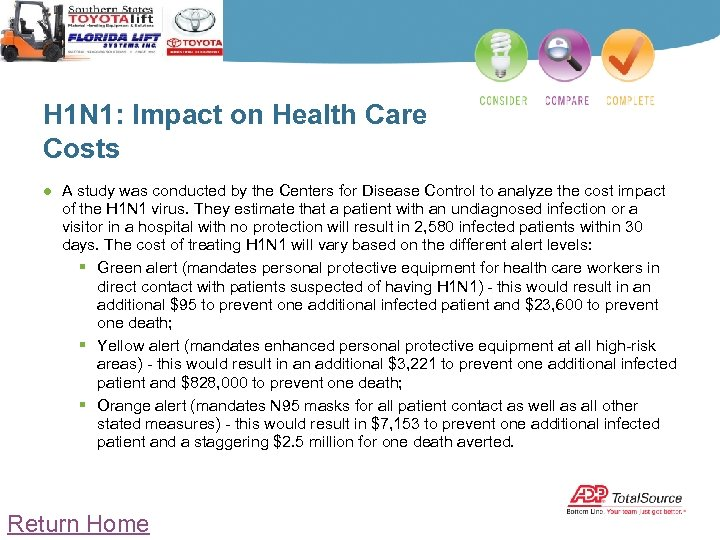 H 1 N 1: Impact on Health Care Costs ● A study was conducted