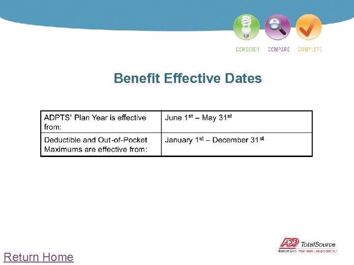 Benefit Effective Dates Return Home