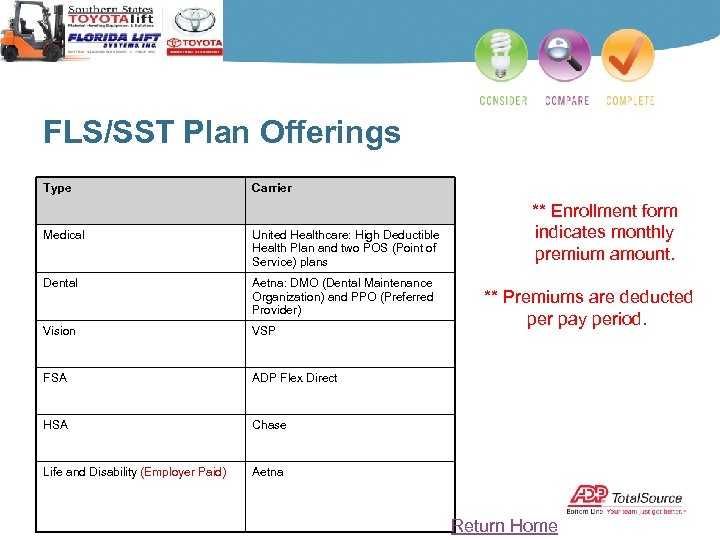 FLS/SST Plan Offerings Type Carrier Medical United Healthcare: High Deductible Health Plan and two
