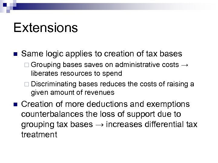 Extensions n Same logic applies to creation of tax bases ¨ Grouping bases saves