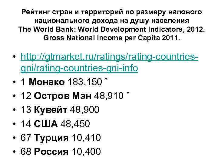 Рейтинг стран и территорий по размеру валового национального дохода на душу населения The World