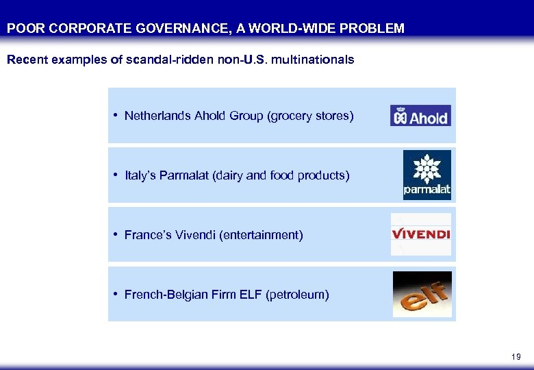 POOR CORPORATE GOVERNANCE, A WORLD-WIDE PROBLEM Recent examples of scandal-ridden non-U. S. multinationals •