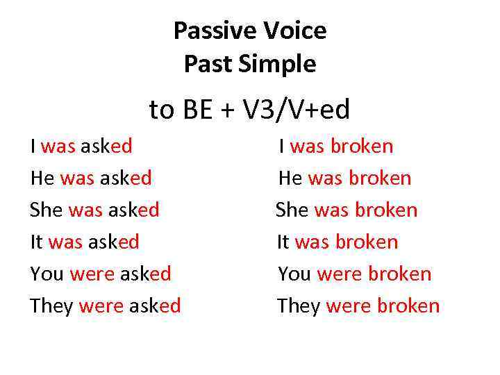 Passive Voice Past Simple to BE + V 3/V+ed I was asked I was