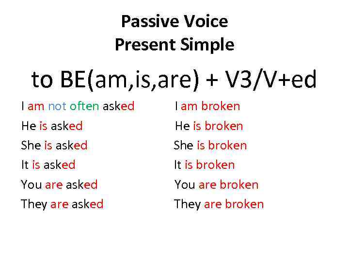 Passive Voice Present Simple to BE(am, is, are) + V 3/V+ed I am not