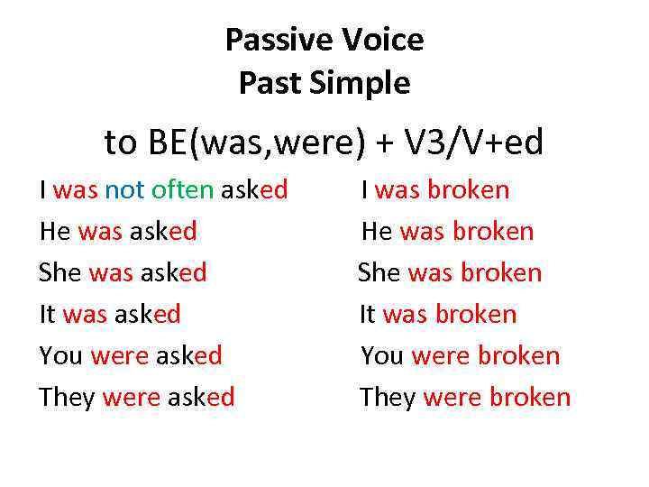 Passive Voice Past Simple to BE(was, were) + V 3/V+ed I was not often