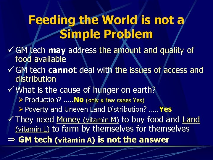 Feeding the World is not a Simple Problem ü GM tech may address the