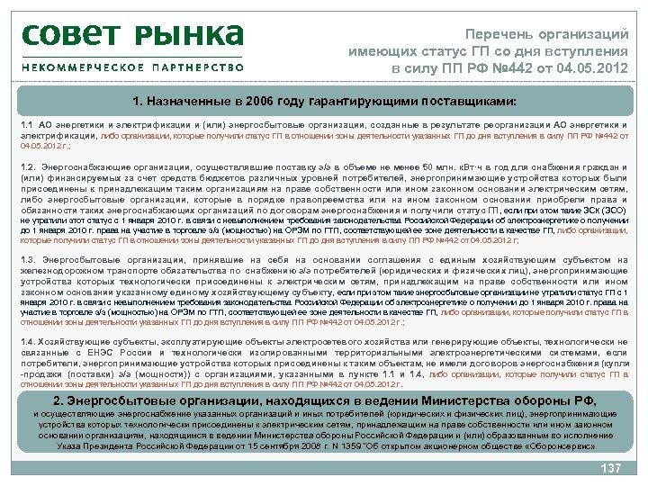 Перечень организаций имеющих статус ГП со дня вступления в силу ПП РФ № 442