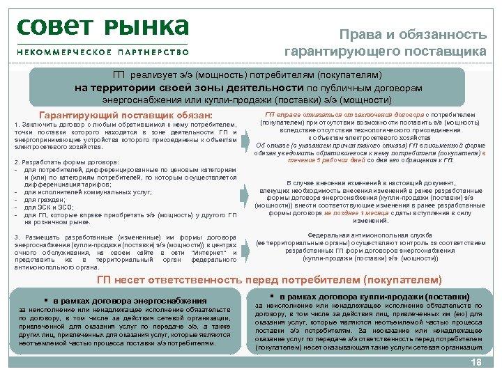 Права и обязанность гарантирующего поставщика ГП реализует э/э (мощность) потребителям (покупателям) на территории своей