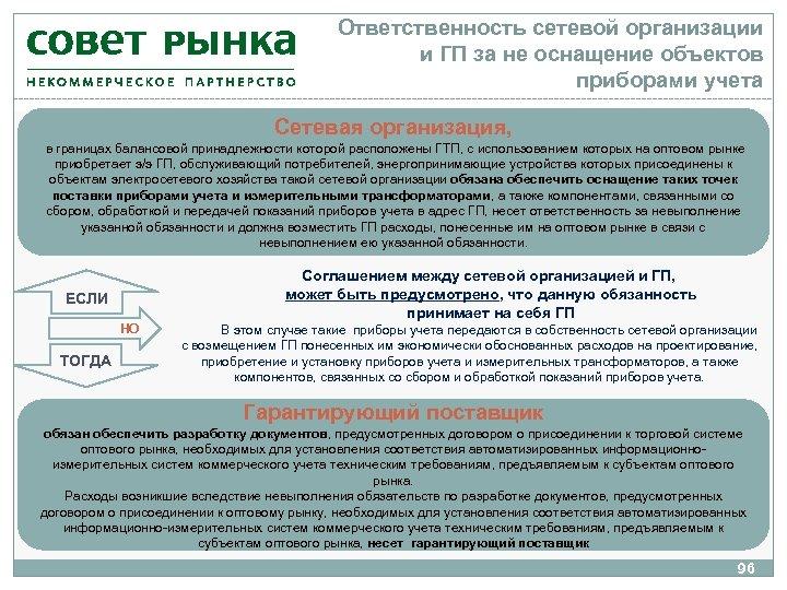 Ответственность сетевой организации и ГП за не оснащение объектов приборами учета Сетевая организация, в