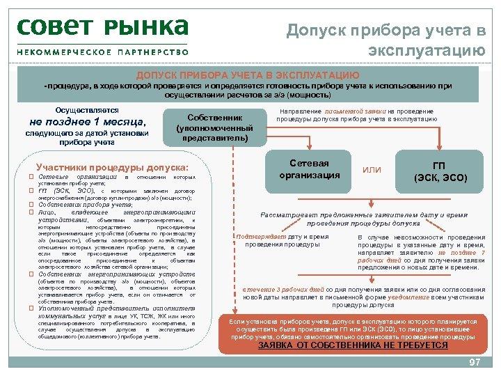 Допуск прибора учета в эксплуатацию ДОПУСК ПРИБОРА УЧЕТА В ЭКСПЛУАТАЦИЮ - процедура, в ходе