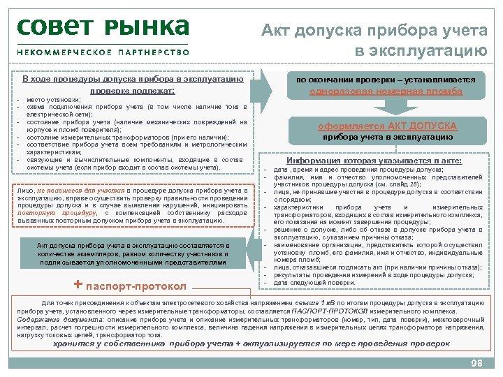 Акт допуска прибора учета в эксплуатацию В ходе процедуры допуска прибора в эксплуатацию проверке