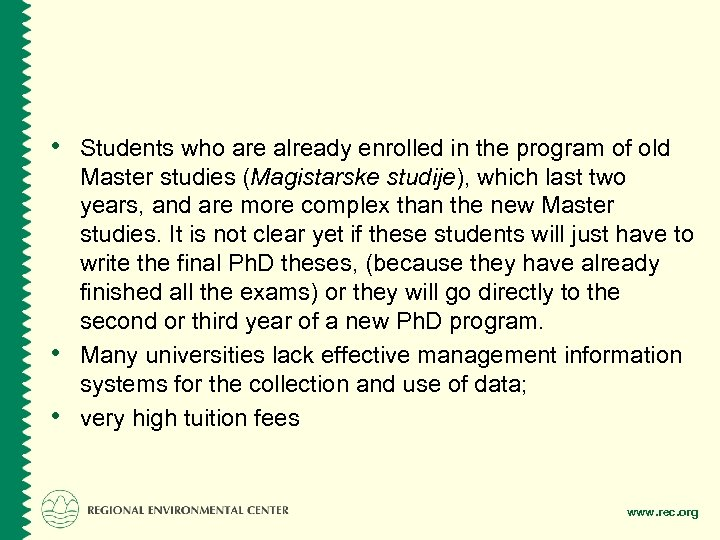 • Students who are already enrolled in the program of old • •