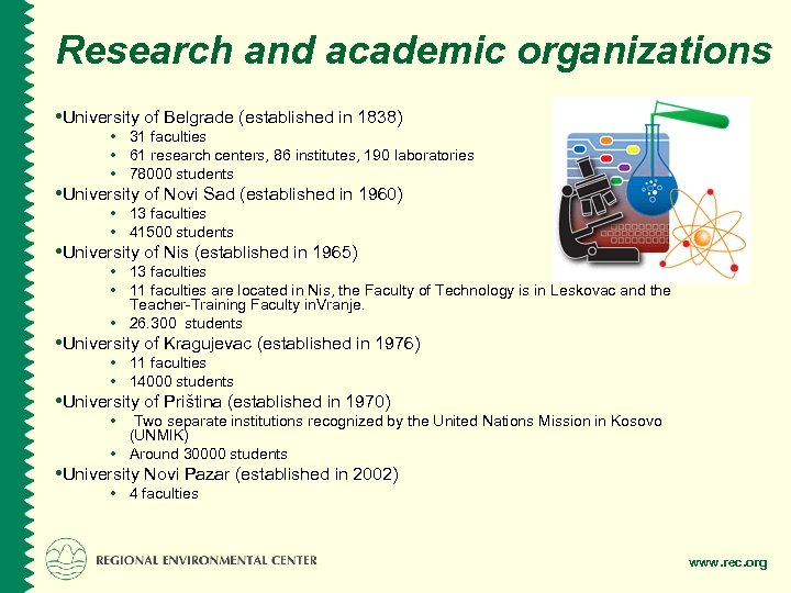 Research and academic organizations • University of Belgrade (established in 1838) • 31 faculties