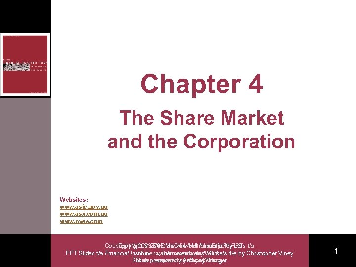 Chapter 4 The Share Market and the Corporation Websites: www. asic. gov. au www.