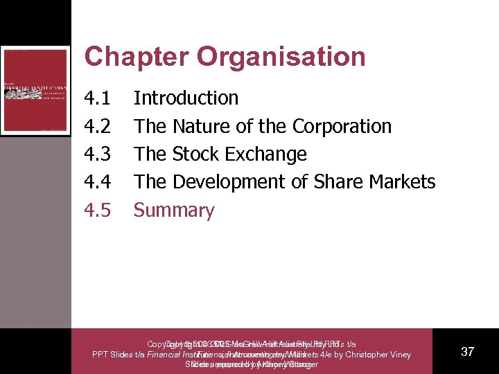 Chapter Organisation 4. 1 4. 2 4. 3 4. 4 4. 5 Introduction The