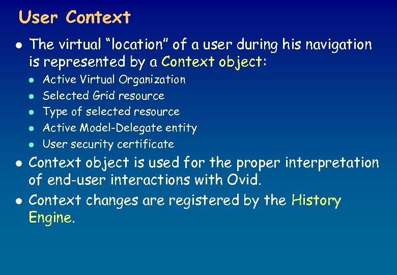 """User Context l The virtual """"location"""" of a user during his navigation is represented"""