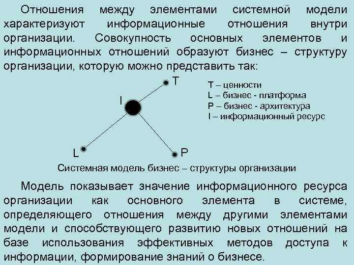Отношения между элементами системной модели характеризуют информационные отношения внутри организации. Совокупность основных элементов и