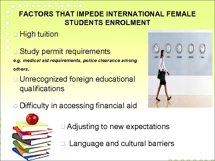 FACTORS THAT IMPEDE INTERNATIONAL FEMALE STUDENTS ENROLMENT q High tuition q Study permit requirements