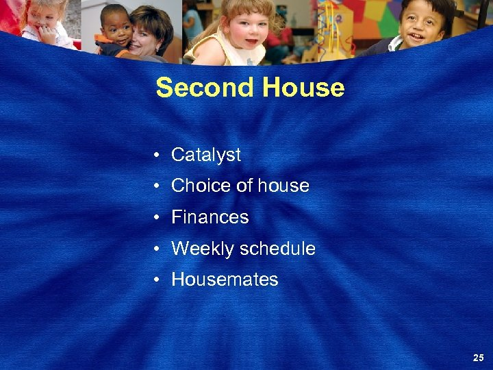 Second House • Catalyst • Choice of house • Finances • Weekly schedule •