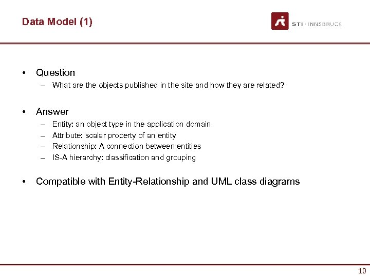 Data Model (1) • Question – What are the objects published in the site