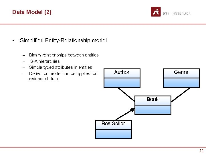 Data Model (2) • Simplified Entity-Relationship model – – Binary relationships between entities IS-A