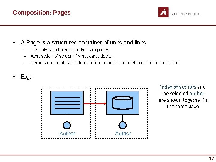 Composition: Pages • A Page is a structured container of units and links –