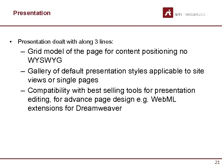 Presentation • Presentation dealt with along 3 lines: – Grid model of the page